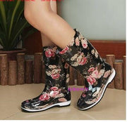 Printed Flower Rubber Waterproof Shoes