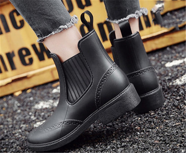 Women Ankle Shoes PVC Waterproof Rain Boots