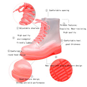 Women Lace-up Clear Rubber Candy Color Flat Ankle Rain Bootes