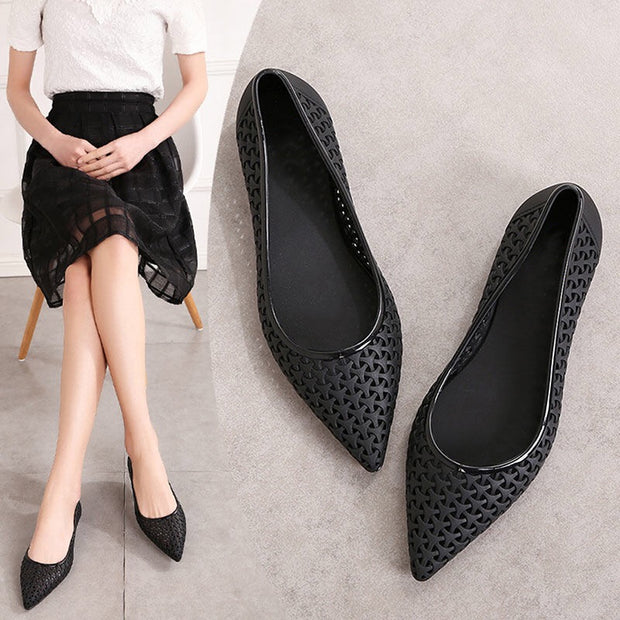 Pointed Toe Breathable Hollow Out Ballet Flat Shoes
