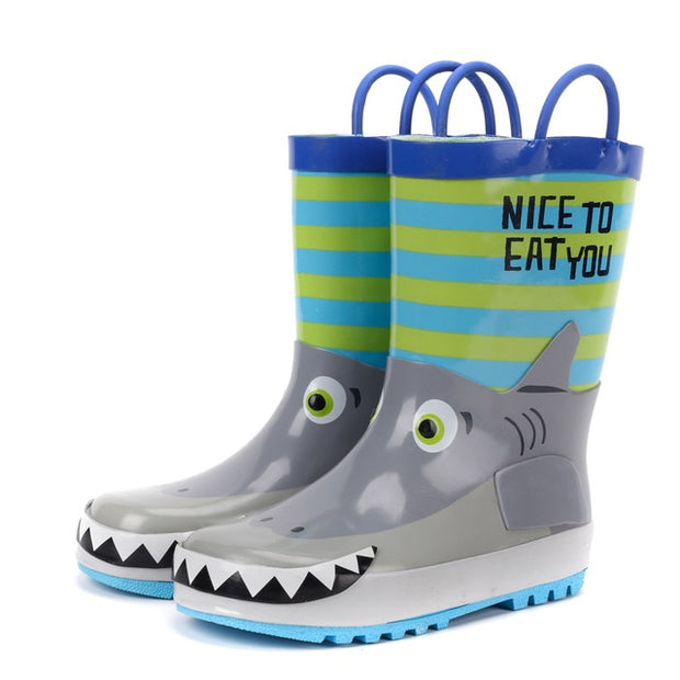 3D Cartoon Shark Printed Rubber Shoes