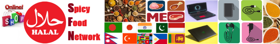 Halal Food Japan. Spicy Food Network has the various collection of Halal Foods. We also have new/used electronics collection. We accept Credit Card, Cash On Delivery, ATM/Bank Transfer. You can also call us to place your order. Thank you very much!
