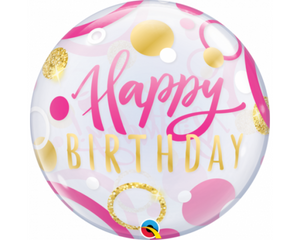Bubble Happy Birthday Pink And Gold Balloon