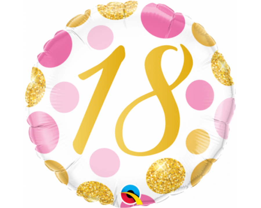 18th Pink And Gold Balloon