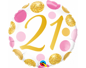 21st Pink And Gold Balloon