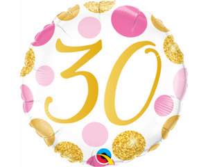 30th Pink And Gold Balloon