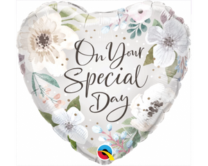 On Your Special Day White Floral Balloon
