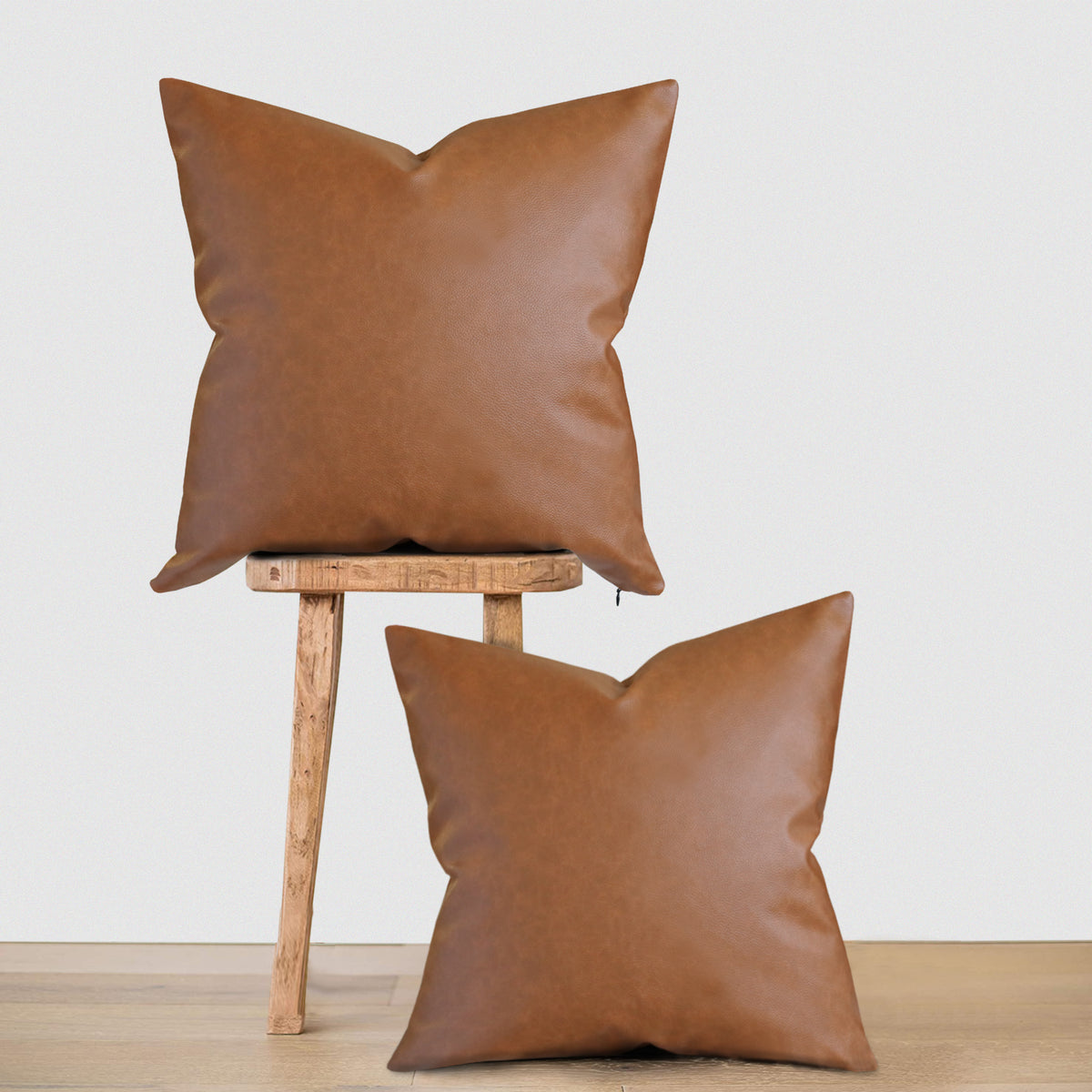 Sydney 18x18 Square Faux Leather Pillow Cover Set Of 2 Two Queens Lane