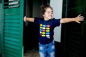 Baby t-shirt multicolor fish in navy blue - JP Amalfi