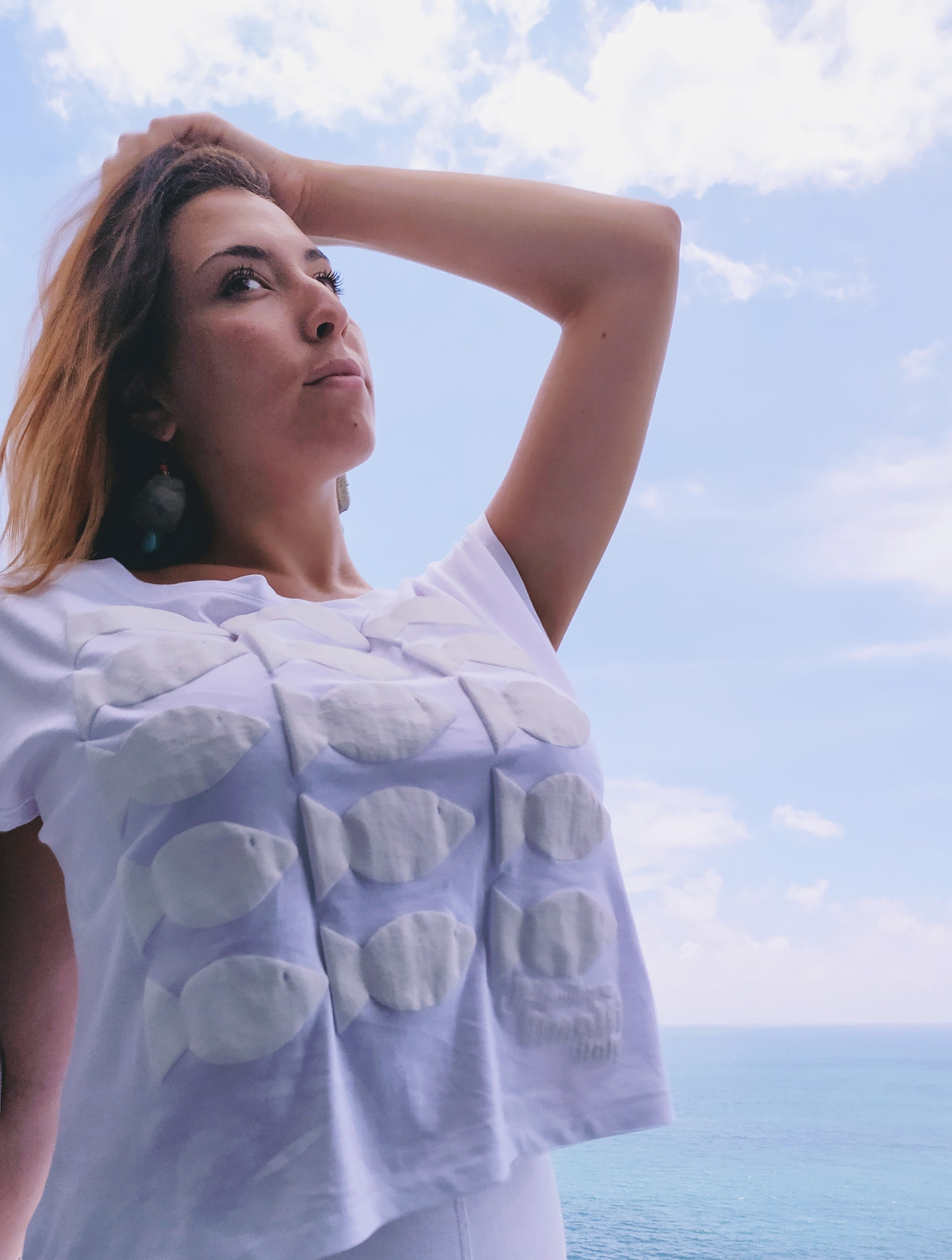 """Pesci sazi"" - Woman top:  swallen print on a top in organic cotton - JP Amalfi"