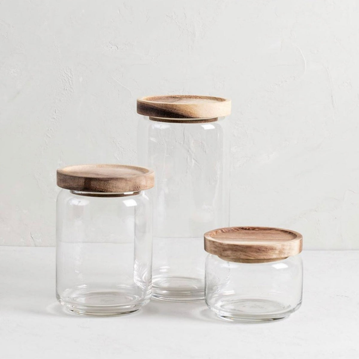 Glass Container with Acacia Lid Medium