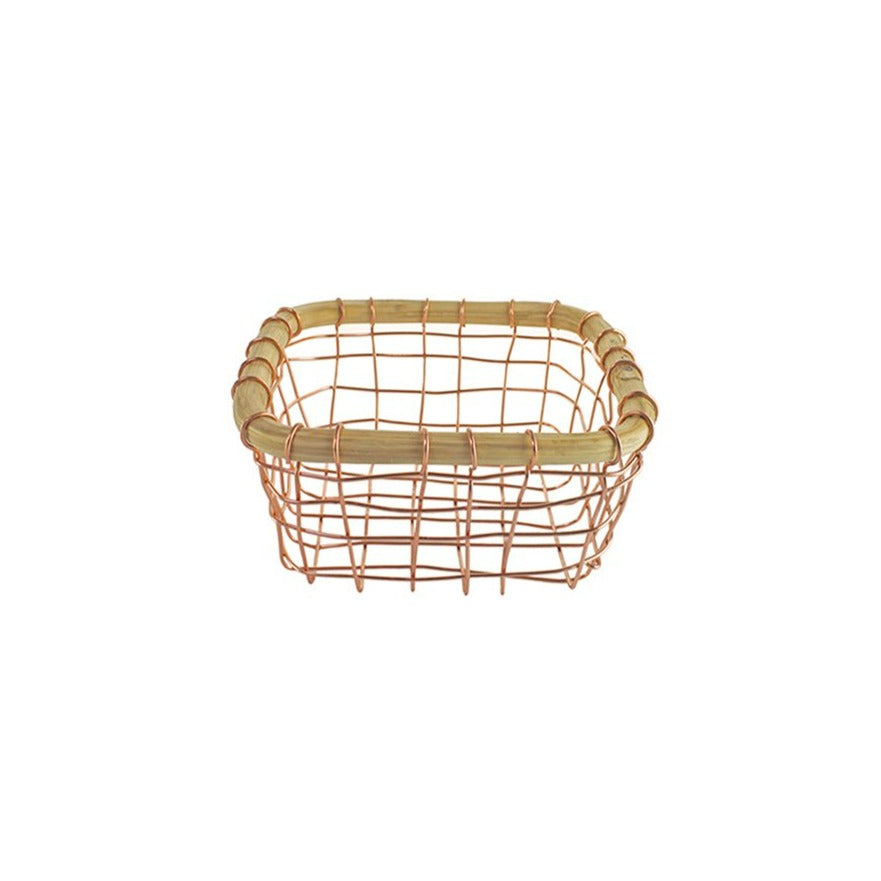 Copper Wire & Cane Berry Basket