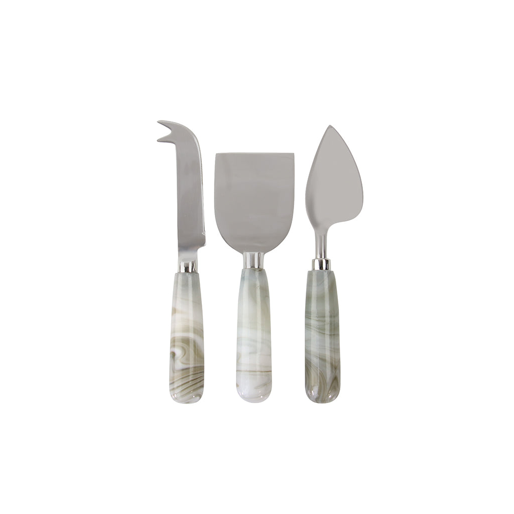 Swirled Glass Cheese Knife Set of 3