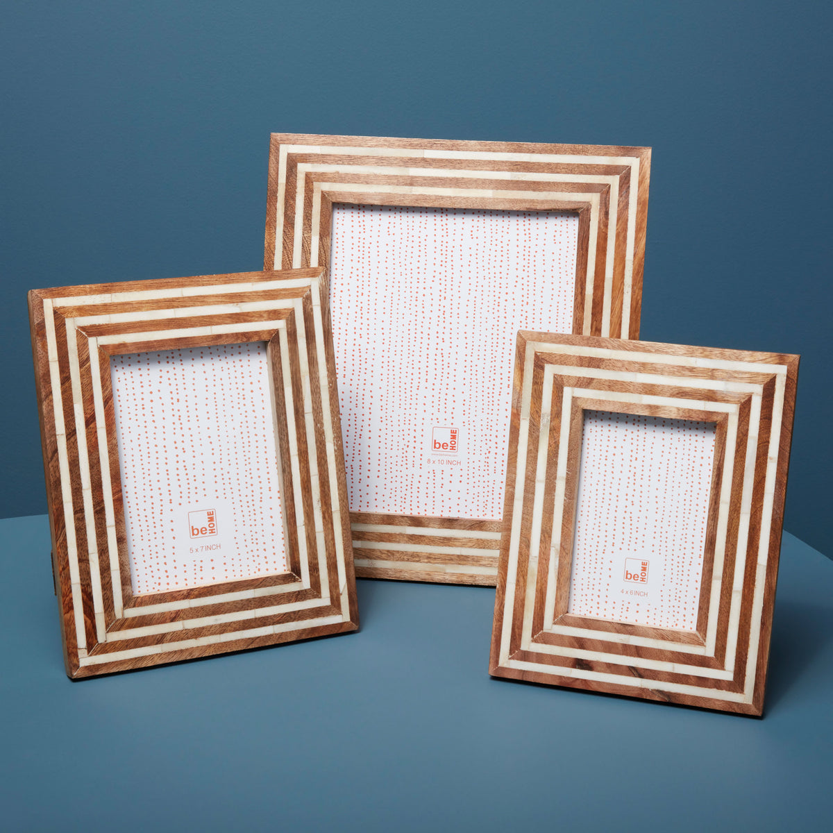 "Mango Wood and Bone Striped Frame, 5"" x 7"""