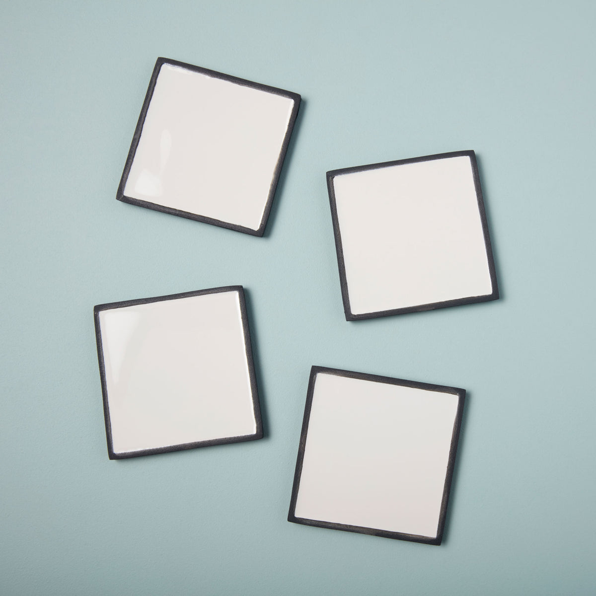 Aluminum & Enamel Square Coasters, Set of 4