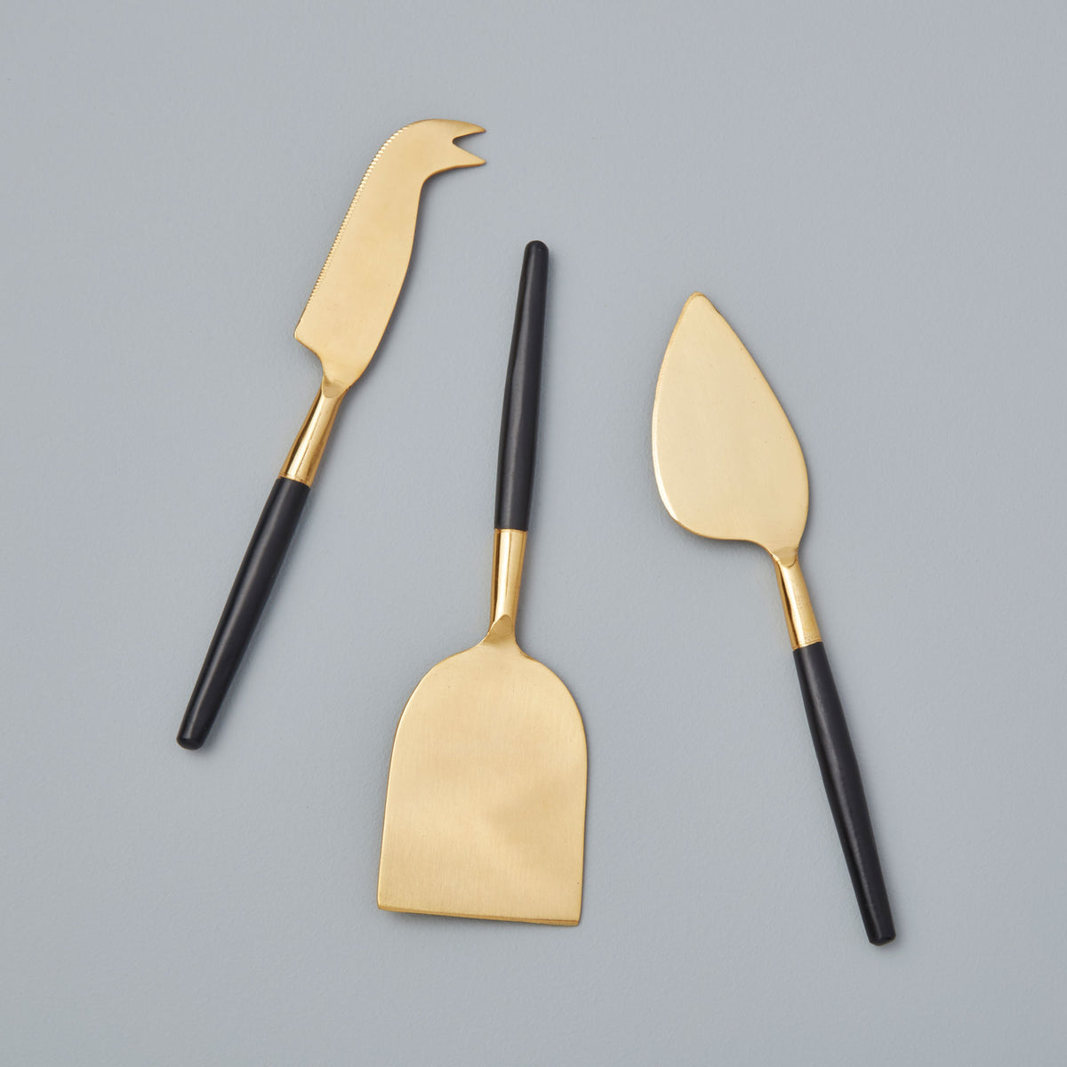Black & Gold Cheese Knife Set of 3