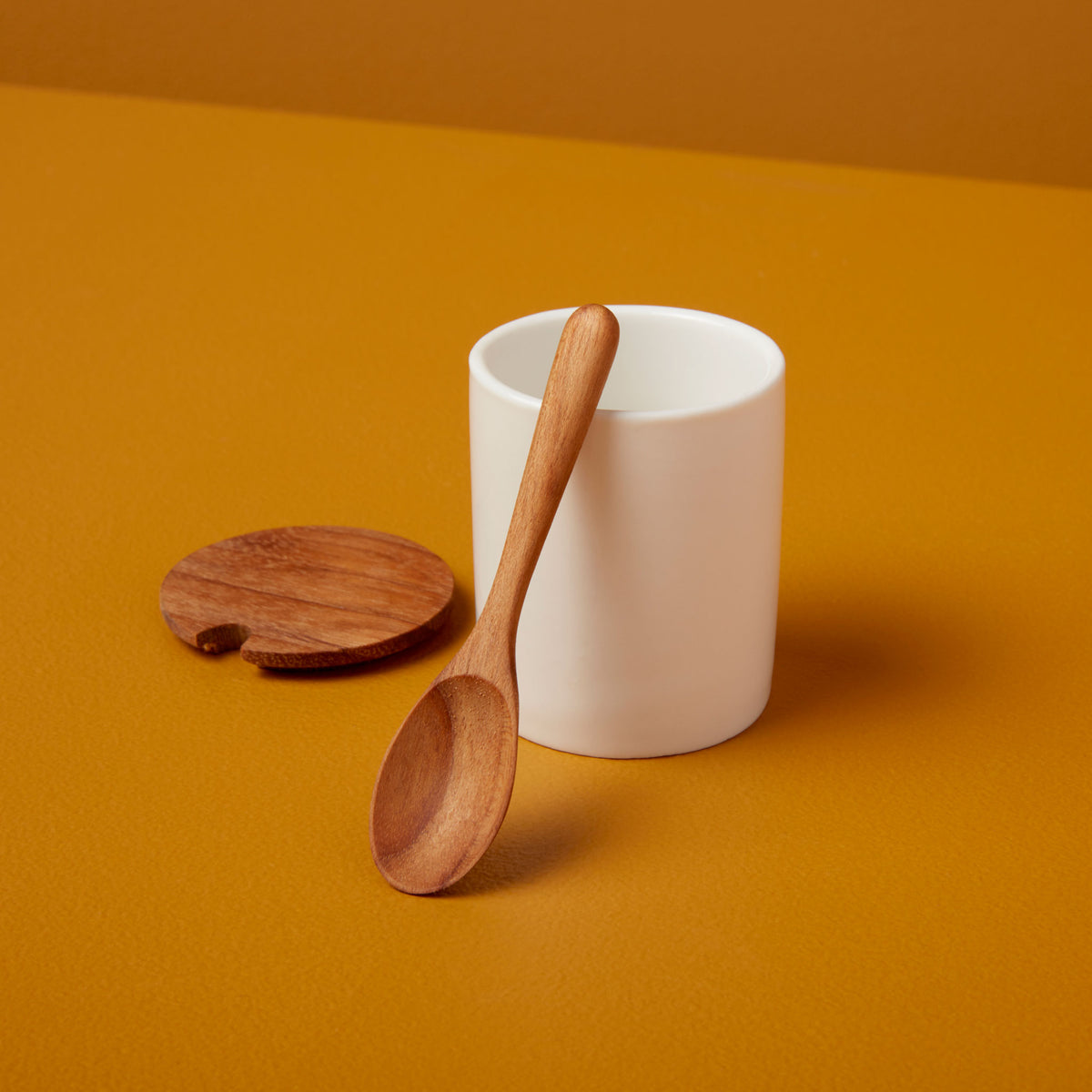 Ceramic Mini Cellar with Teak Lid & Spoon