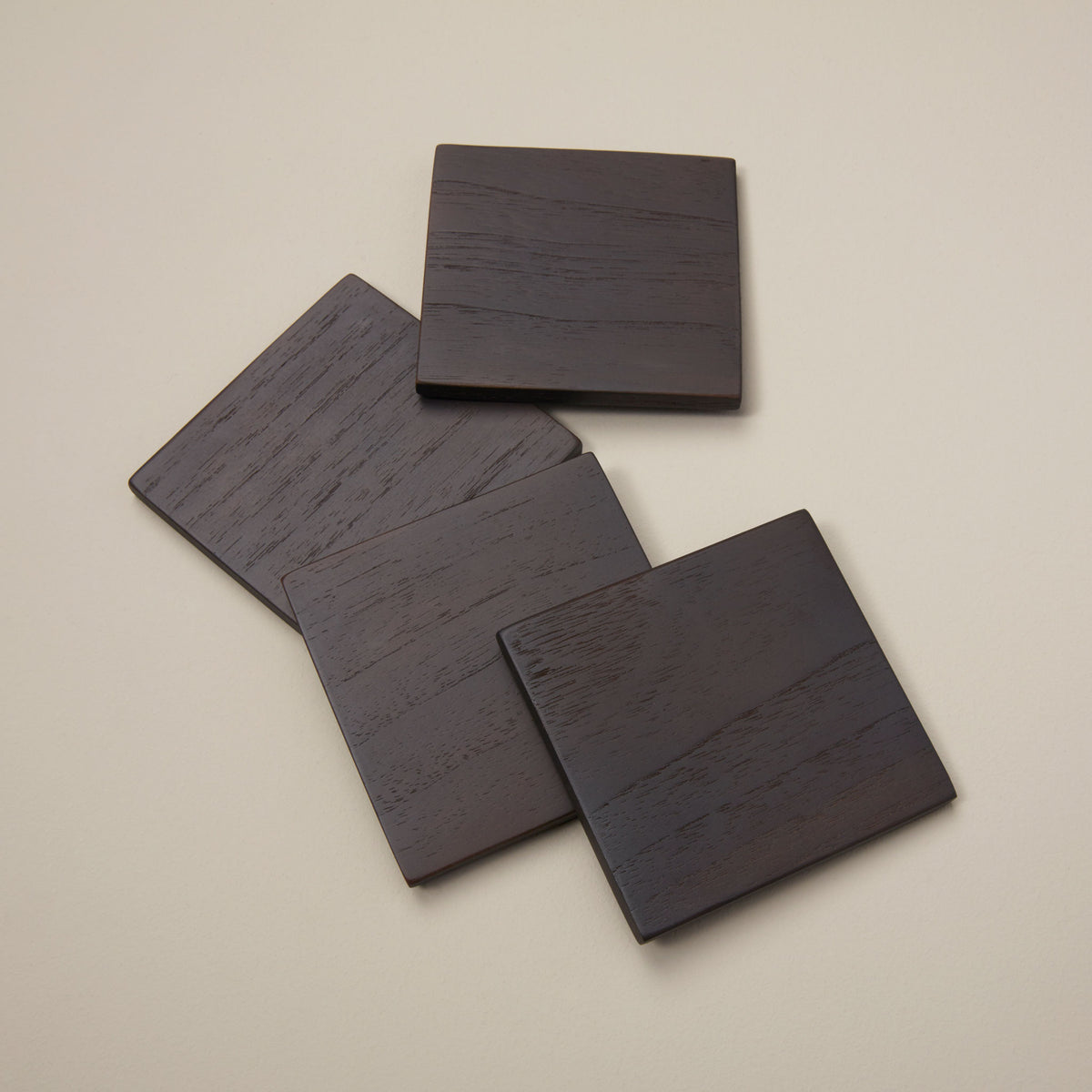 Ebony Teak Square Coasters, Set of 4