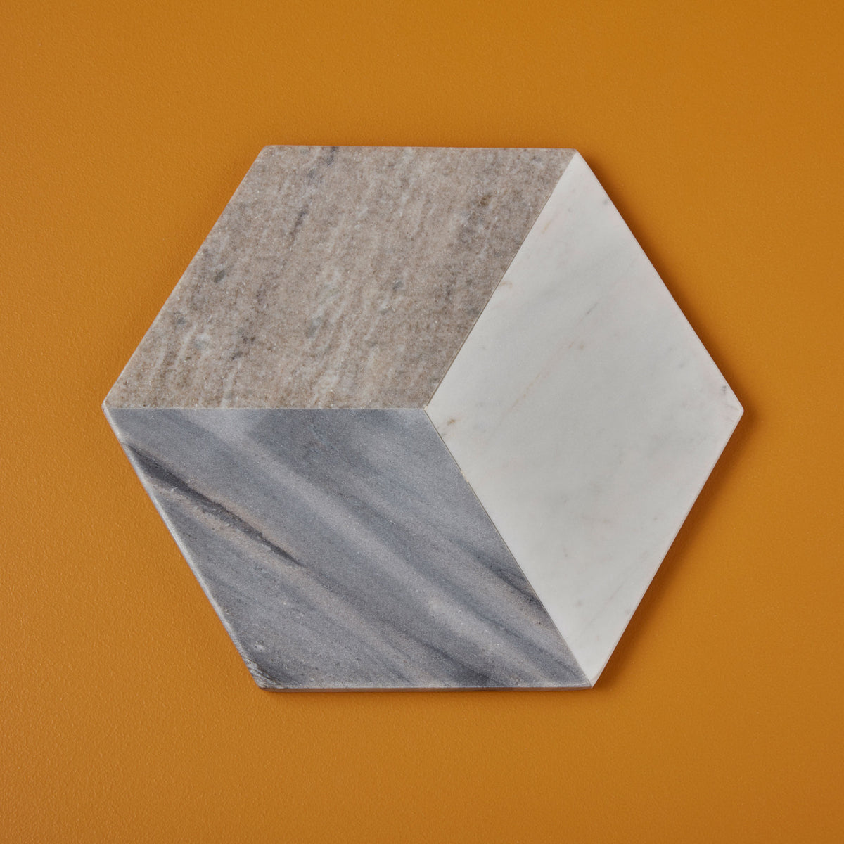 Geometric Marble Hexagon Board