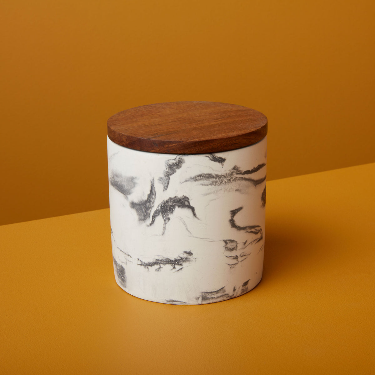 Marbled Cement & Acacia Canister, Black
