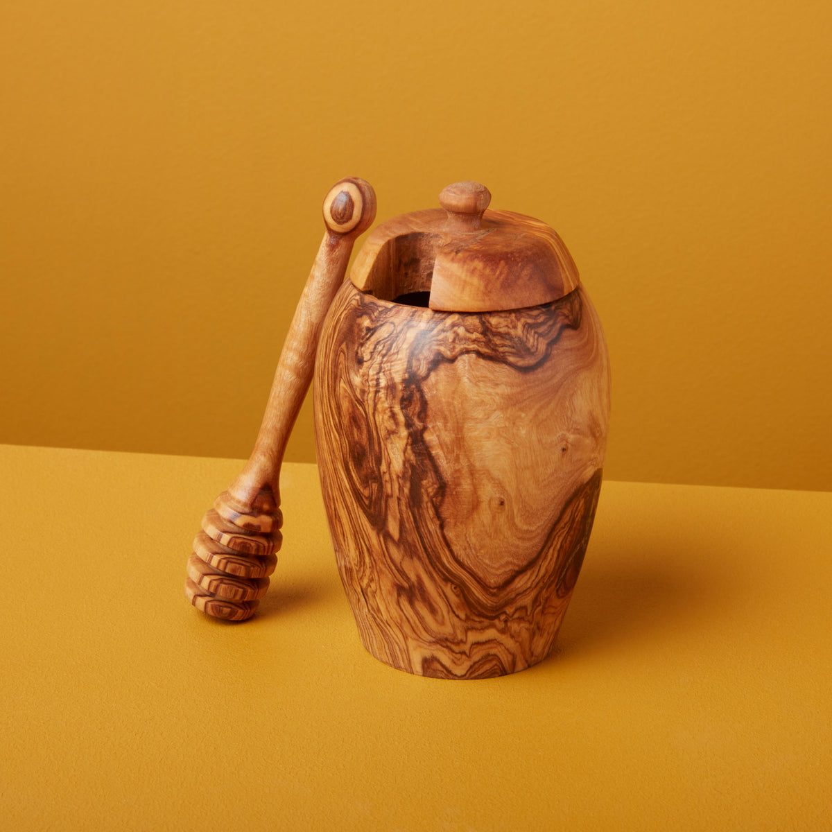 Olive Wood Honey Jar