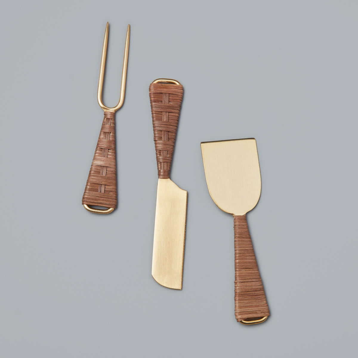 Rattan & Gold Cheese Knife Set of 3
