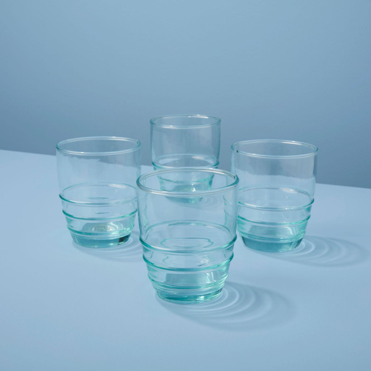 Recycled Glass Rings Tumbler, Short Set of 4