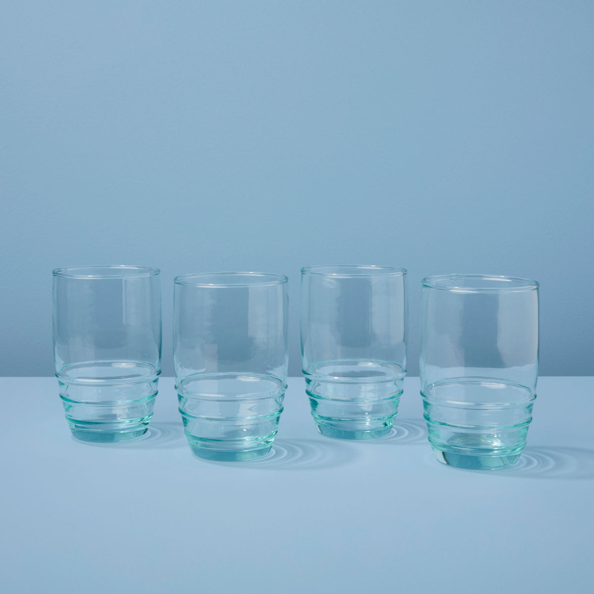 Premium Recycled Glass Rings Tumbler, Tall Set of 4
