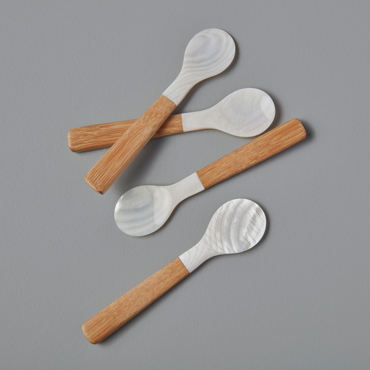 Medium Shell & Bamboo Spoons, Set of 4