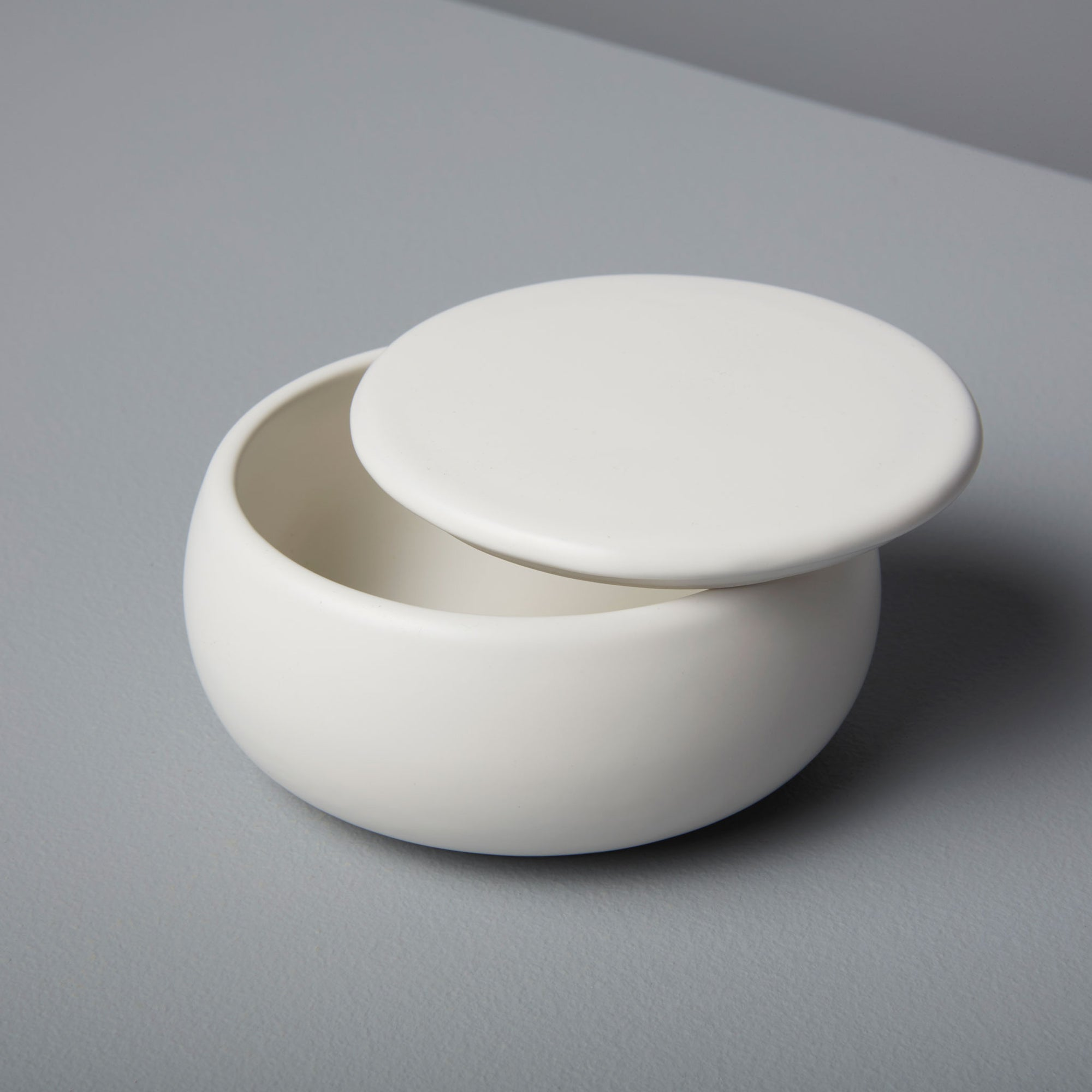 Stoneware Container with Lid, White