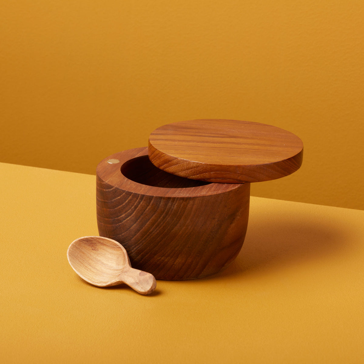 Teak Cellar with Spoon & Pivoting Lid