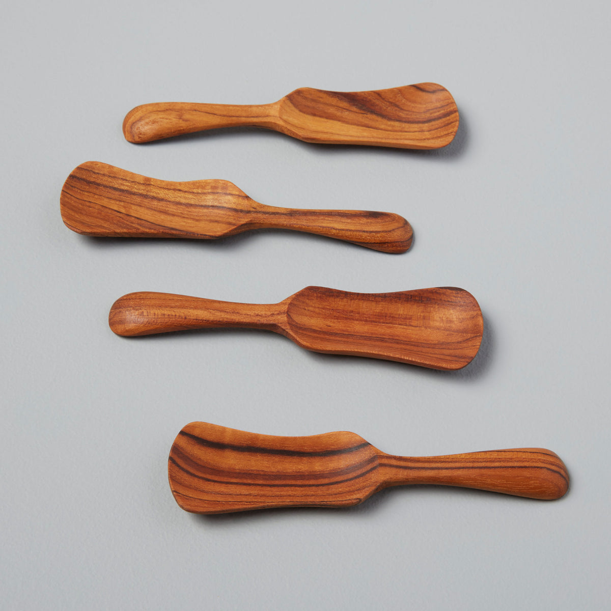 Teak Paddle Scoops, Set of 4