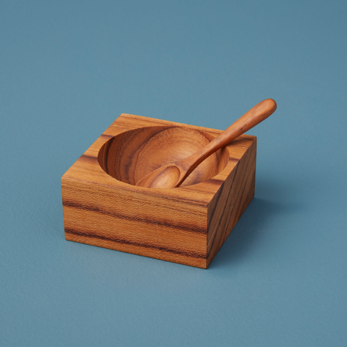 Teak Square Spice Cellar with Spoon