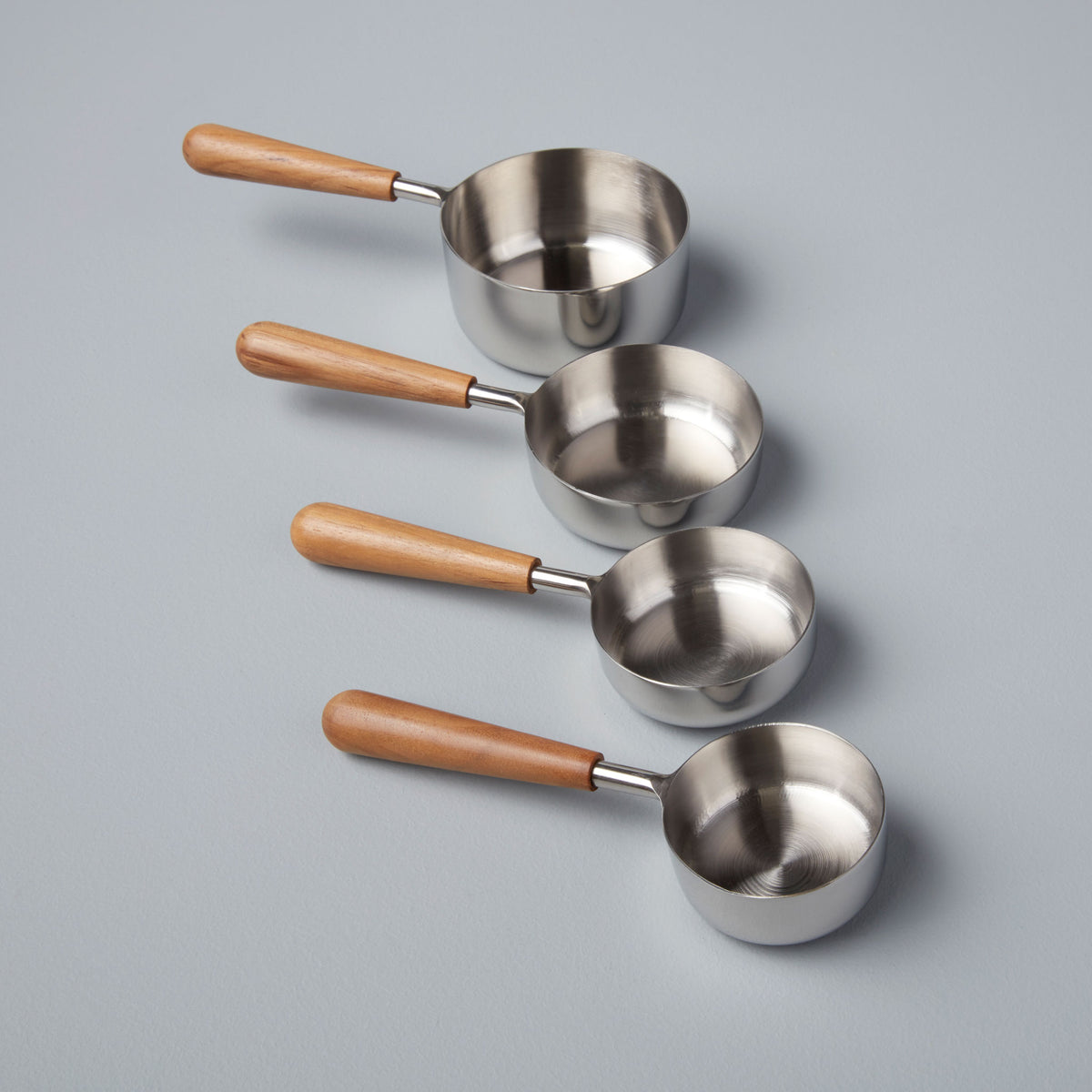 Teak & Stainless Measuring Cups, Set of 4