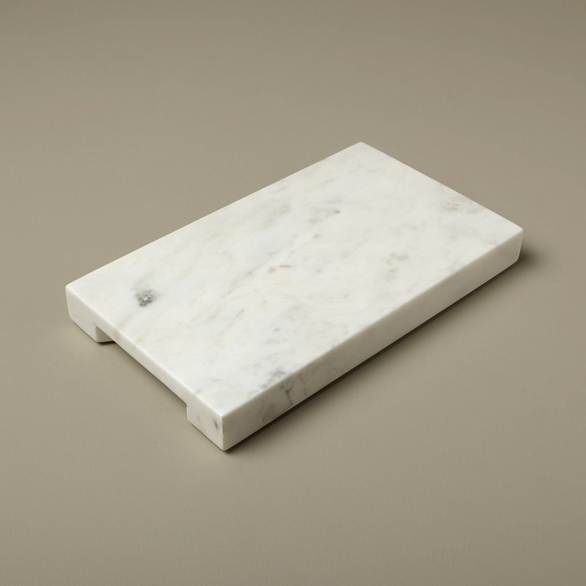 White Marble Prep Board with Handle Grooves