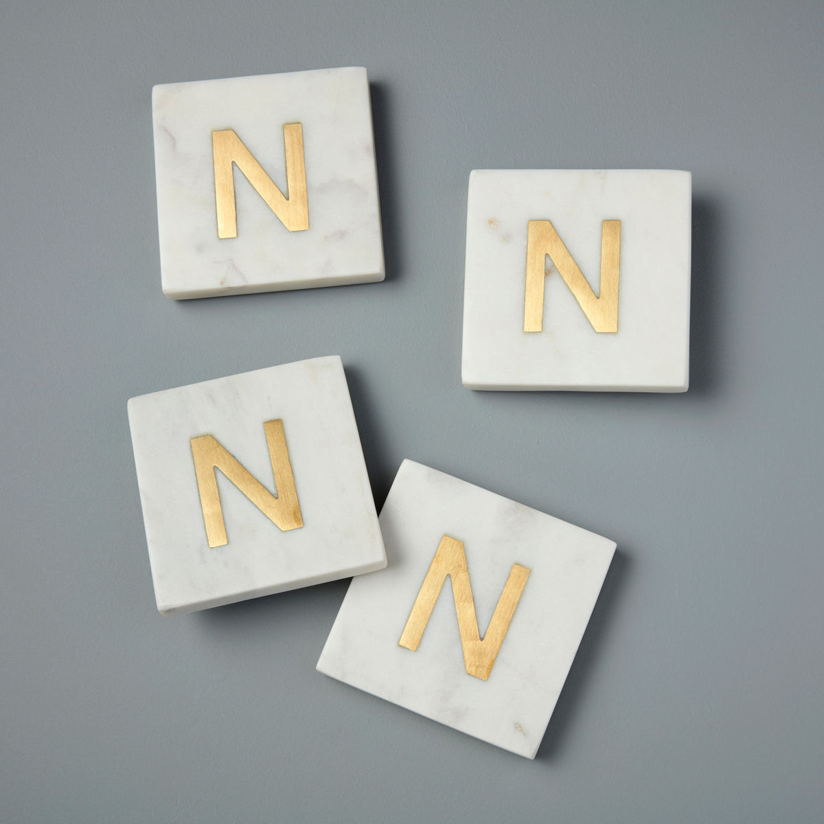 White Marble & Gold Monogram Coasters, Set of 4 - N