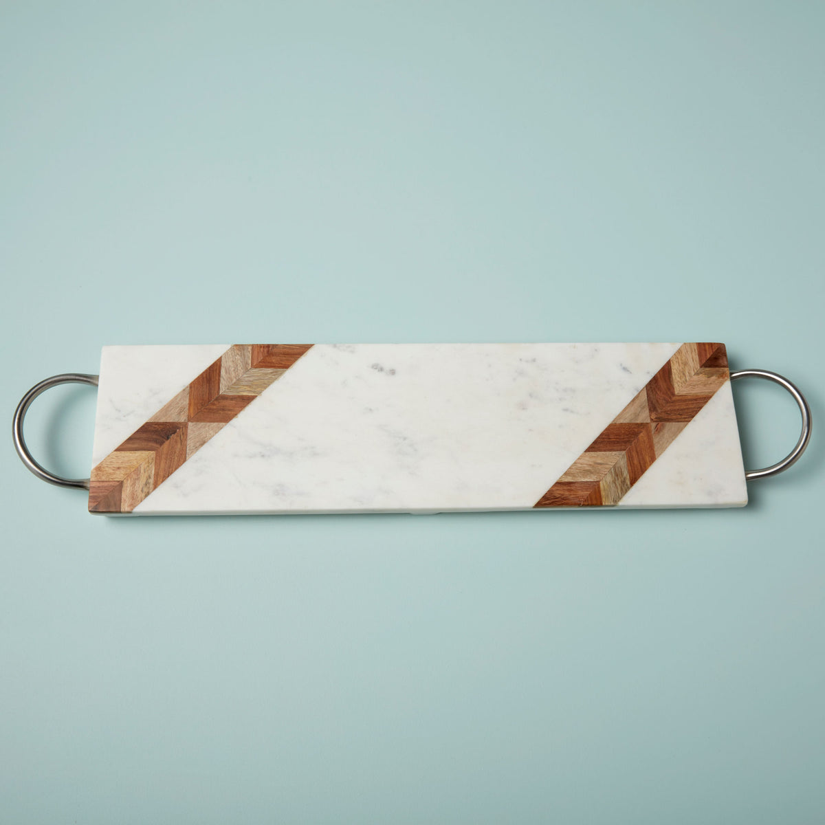 White Marble & Wood Mosaic Long Rectangular Tray with Matte Silver Handles