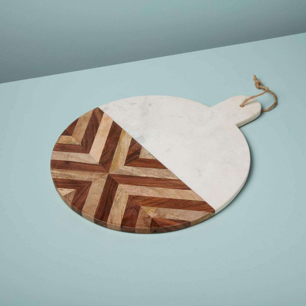 White Marble & Wood Mosaic Round Board XL