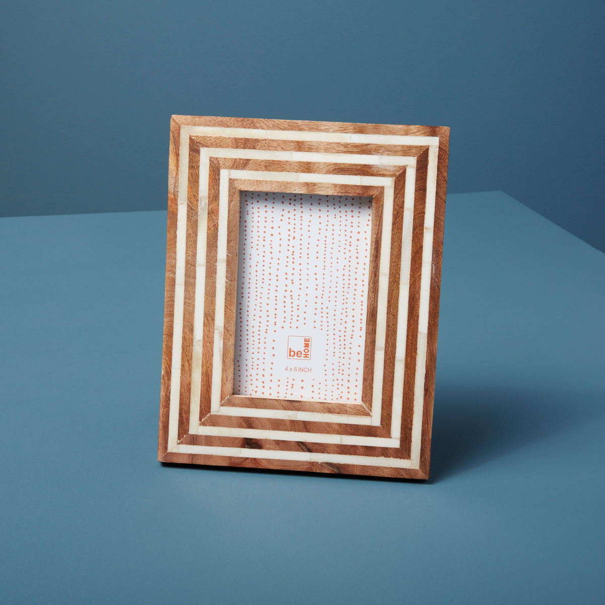 "Mango Wood and Bone Striped Frame, 4"" x 6"""