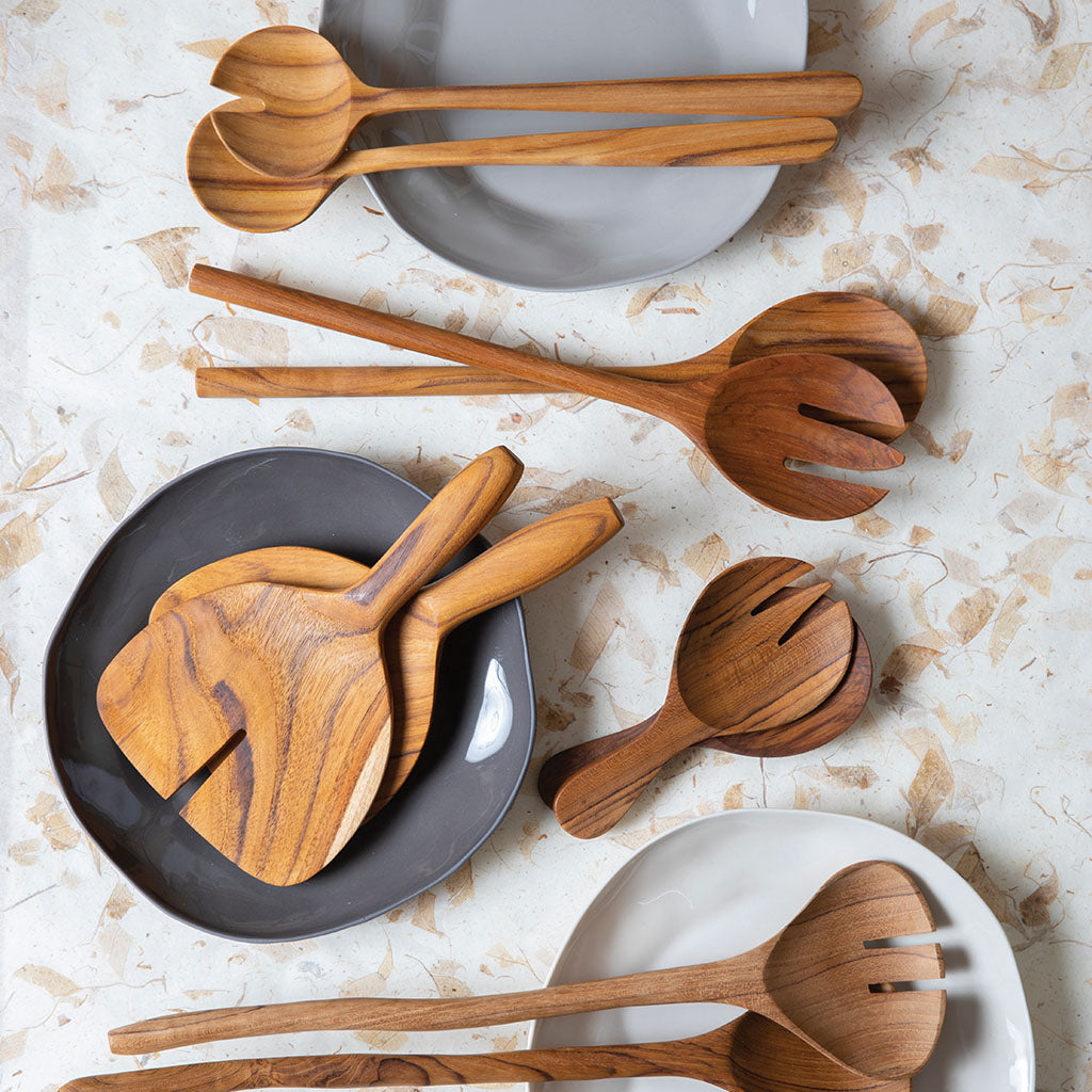 Teak Wide Serving Set