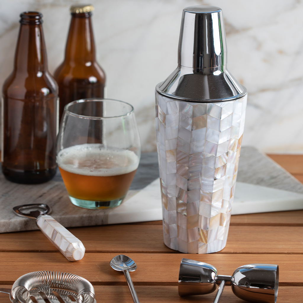 Mother of Pearl Mosaic Cocktail Shaker