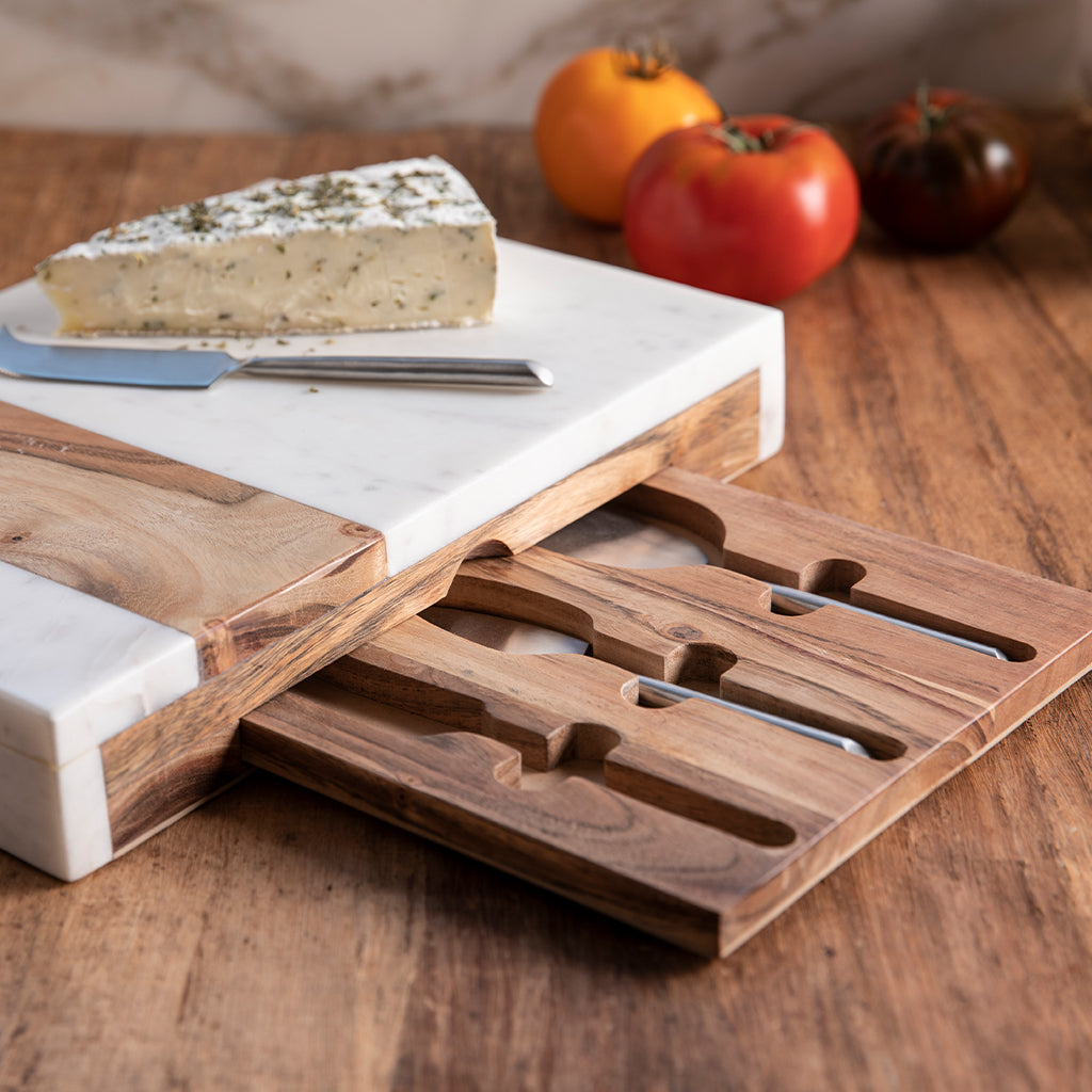 White Marble & Acacia Pocket Drawer Board with Matte Stainless Cheese Set