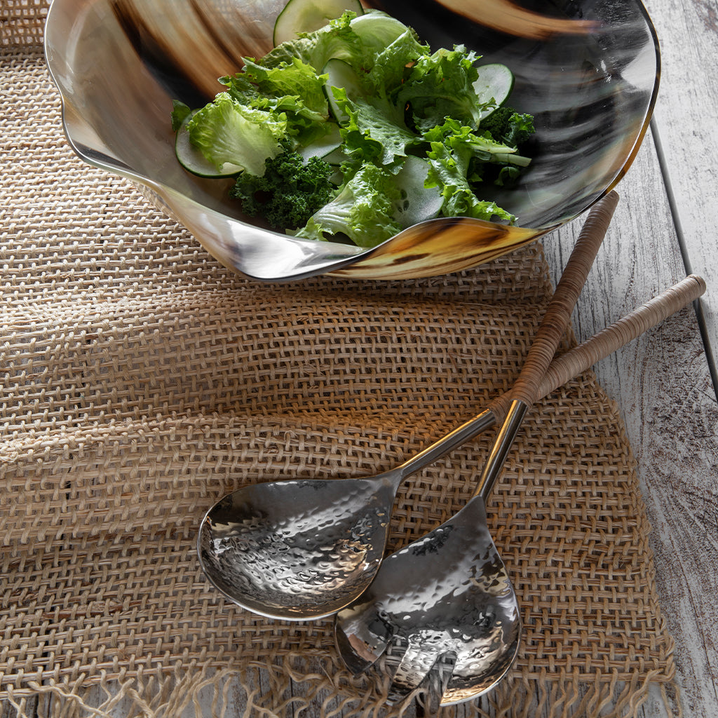 Rattan Wrapped Hammered Stainless Serving Set