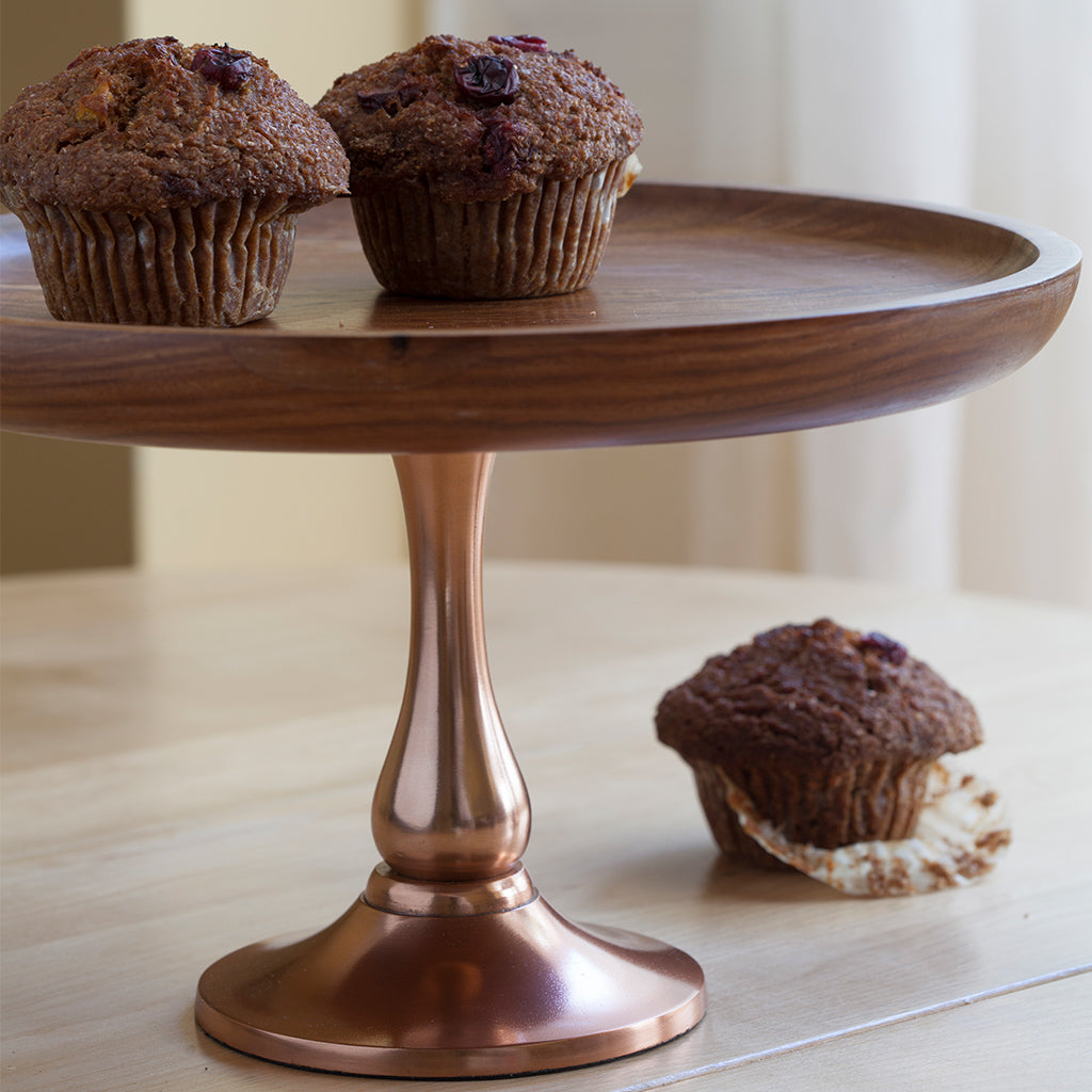 Copper & Wood Cake Stand Large