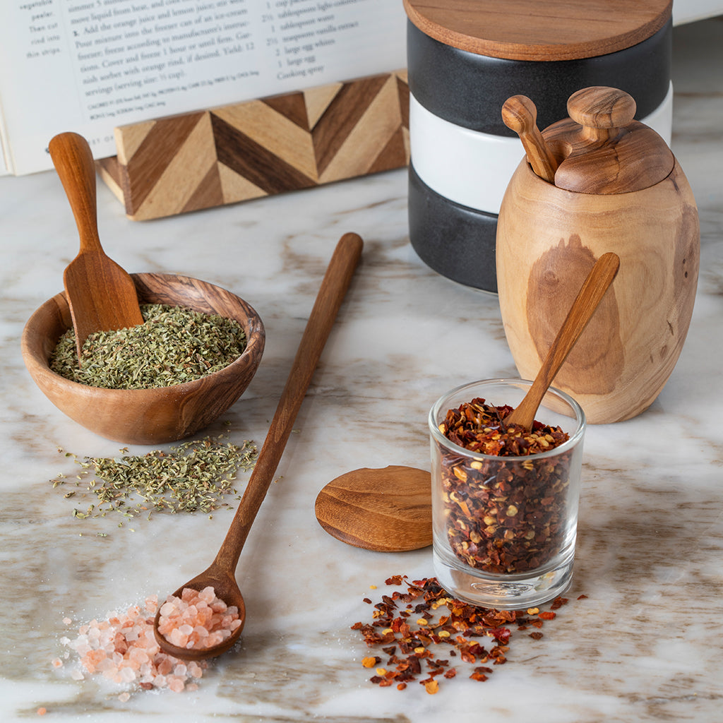 Stoneware & Acacia Stacking Spice Cellar