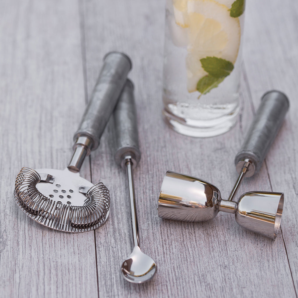 Galvanized Bar Set, Silver