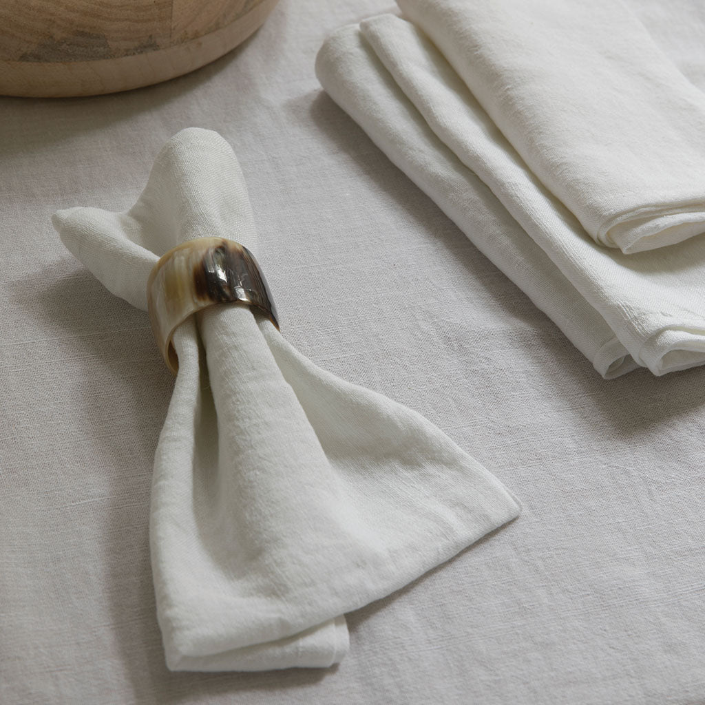 White Linen Napkins, Set of 4