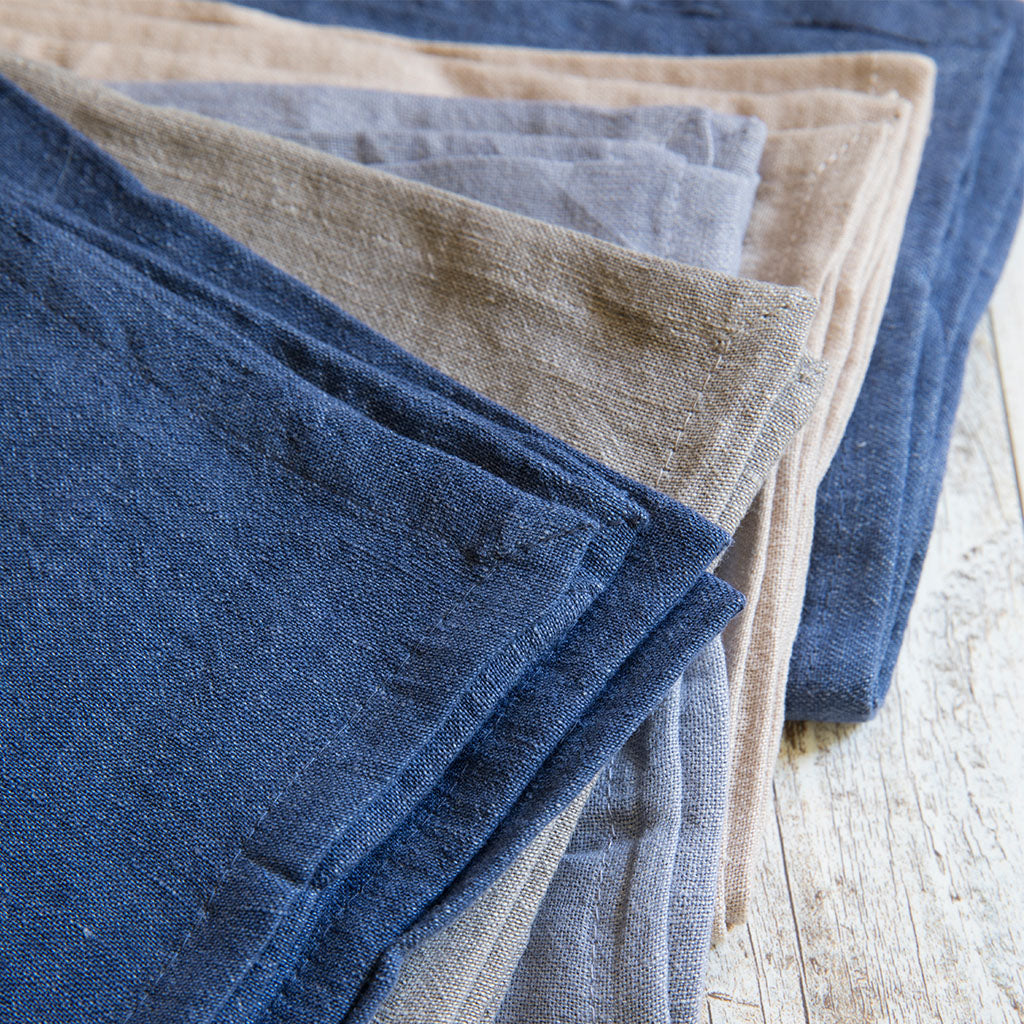 Chambray Linen Napkins, Set of 4