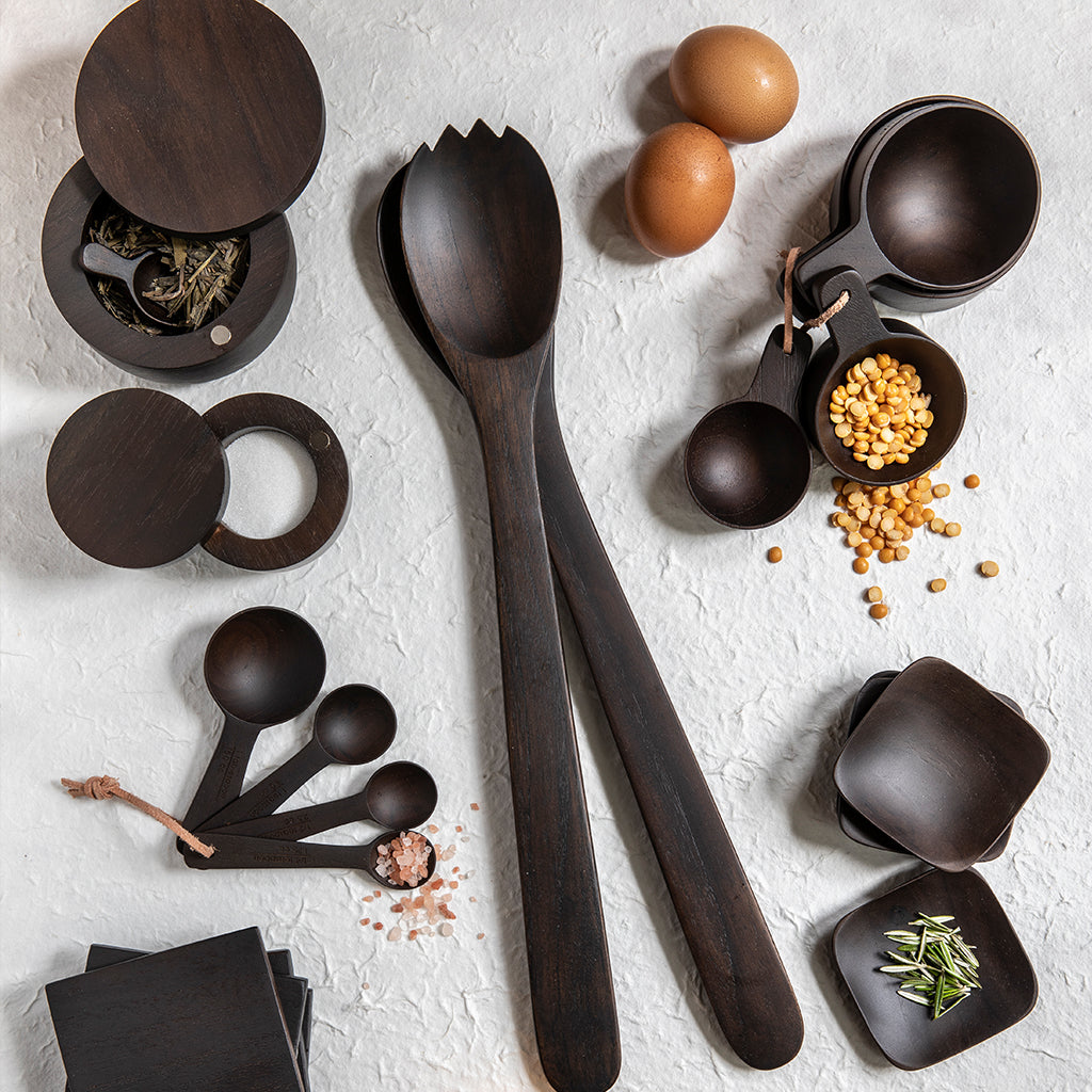 Ebony Teak Spice Cellar with Scoop