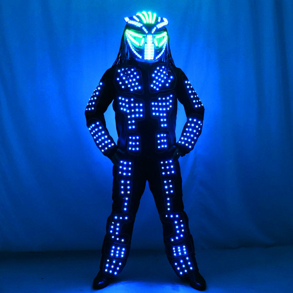 Future LED Lumious Robot Suit Stage Performance Light Up Costume Helmet Clothing Bar Nightclub